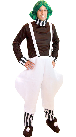 Plus Size Chocolate Factory Worker Costume, Willy Wonka Costume, Plus Size Oompa Loompa Costume