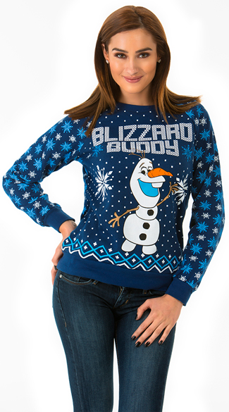 Navy Blue Blizzard Buddy Sweater, Frozen Sweater, Olaf Sweater, Ugly Christmas Sweater