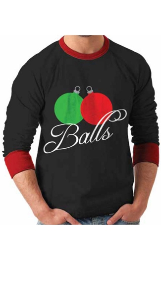 "Plus Size Ornament ""Balls\"" Ugly Christmas Sweater"