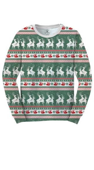 Reindeers And Rabbits Faux Ugly Christmas Sweater Shirt, Reindeer Print Ugly Christmas Sweater