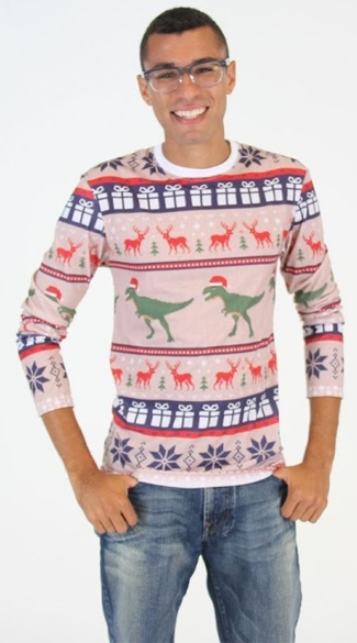 Plus Size T-Rex Faux Ugly Christmas Sweater Shirt