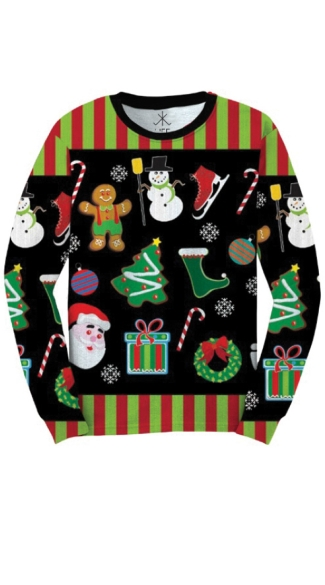 Xmas Icons Faux Ugly Sweater Shirt, Christmas Icon Sweater