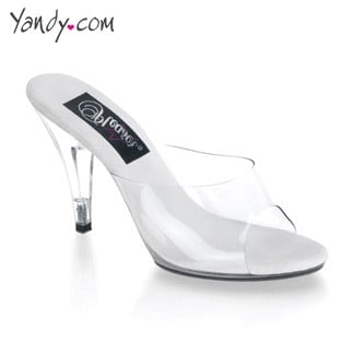 Clear Peep Toe Stiletto with Cone Heel, Clear 4 Inch Stiletto Heel, Sexy Clear Shoes