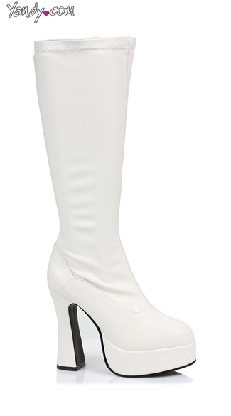 "5"" Heel Stretch Knee Boots with Zipper"