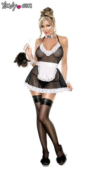 Plus Size Chamber Maid Lingerie Costume, Plus Size Mesh Maid Lingerie
