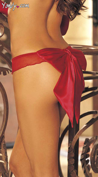 Glamorous, Ruffle Mesh Thong with Giant Bow