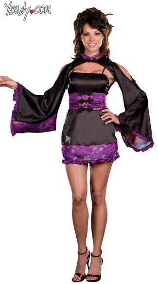 China Doll Costume, Purple Geisha Costume