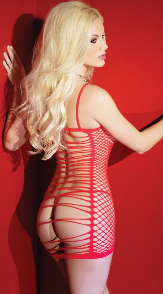 Red Seamless Net Chemise