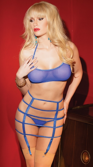 Mesh Halter Bra and Strappy Garter Set
