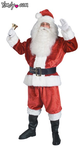 Extra Large Crimson Imperial Santa Suit Costume, Plush Santa Suit Costume, Santa Claus Costume