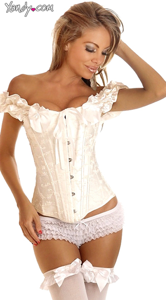 Dainty Love Corset, Sexy Bridal Corsets, Ivory Ribbon Bustiers