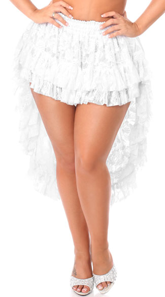 plus size white high low lace skirt plus size white lace