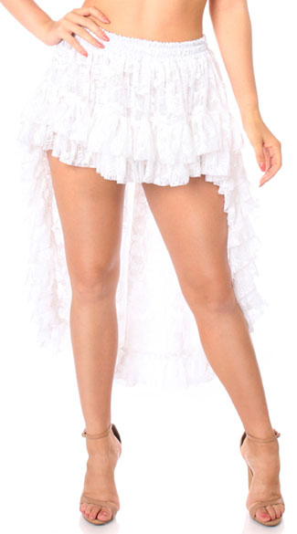 White High Low Lace Skirt, White Lace Skirt, High Low Skirt