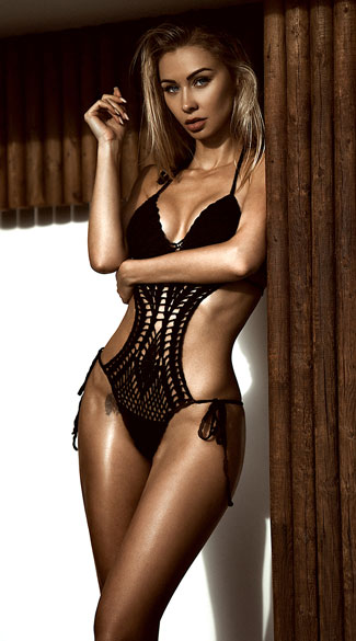 Black Crochet Monokini, Black Knit Monokini, Black Cotton Bathing Suit