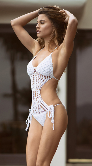 White Crochet Monokini, White Knit Monokini, White Crochet One Piece