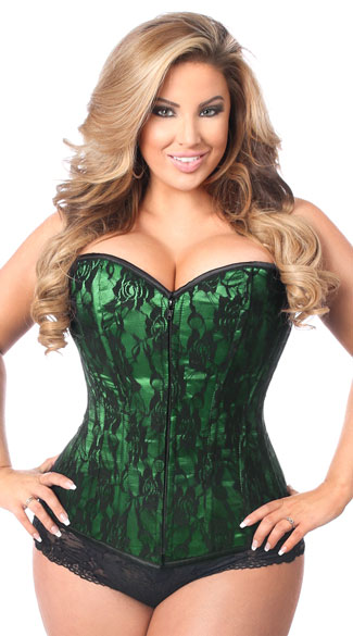 Plus Size Lavish Green Lace Corset, Plus Size Green and Black Corset, Plus Size Black Lace Corset