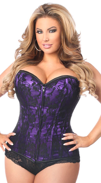 Plus Size Lavish Purple Lace Corset, Plus Size Purple and Black Corset, Plus Size Black Lace Corset