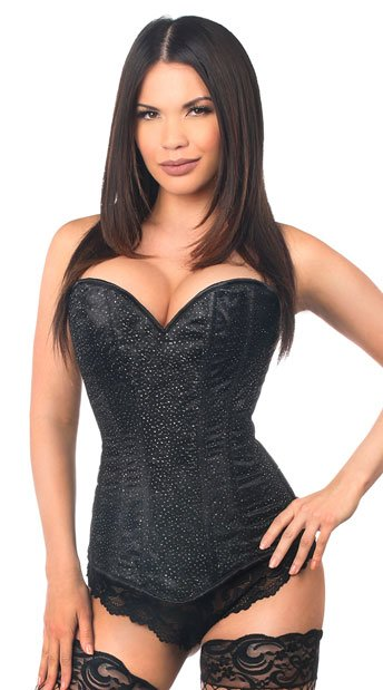 Lavish Black Glitter Corset, Black Sweetheart Corset, Lace Up Black Corset