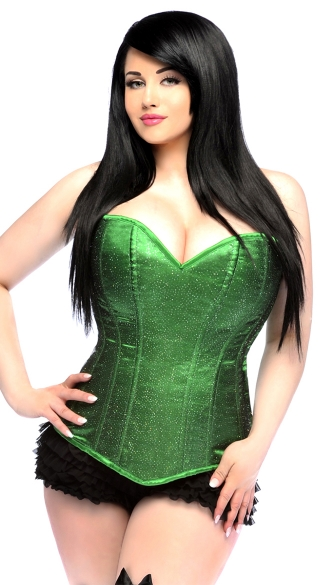 Plus Size Lavish Green Glitter Corset