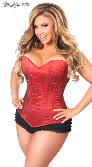 Plus Size Lavish Red Glitter Corset
