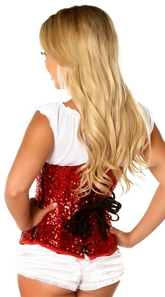 Lavish Red Sequin Waist Cincher