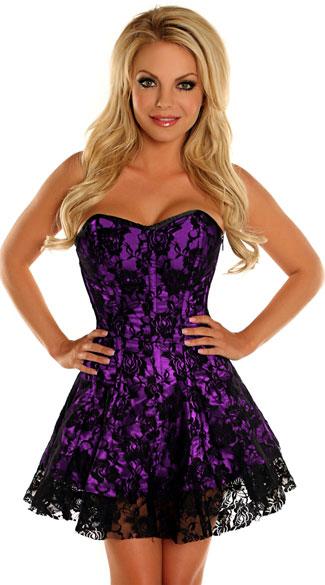 Purple Lace Corset Dress, Sexy Corset Dresses, Black And Purple ...
