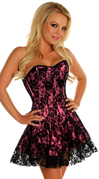 Pink Lace Corset Dress, Seductive Bustier Dresses, Girly Corset ...