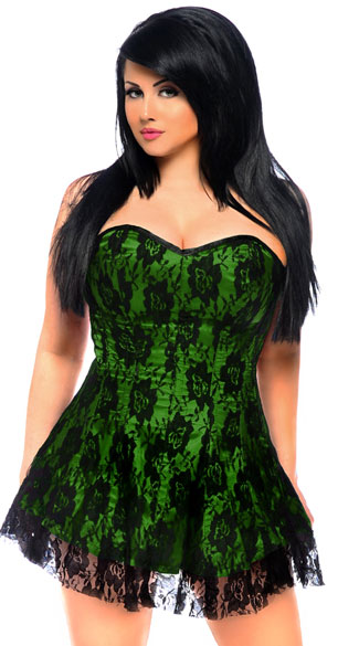 Plus Size Green Lace Corset Dress, Plus Size Sexy Green Dresses, Plus Size Seductive Green Bustier Dresses