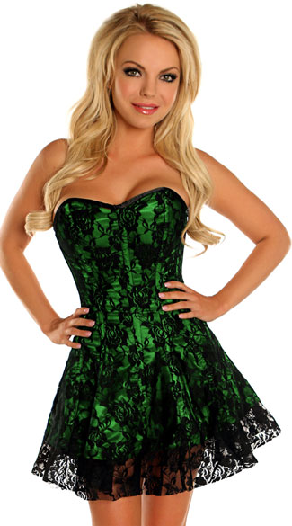 Green Lace Corset Dress, Sexy Green Dresses, Seductive Green Bustier Dresses
