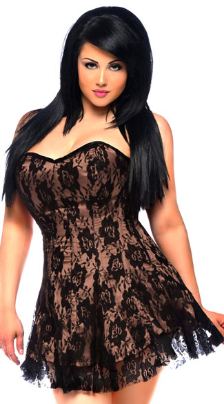 Plus Size Sexy Tan Lace Corset Dress, Plus Size Short Lace Dresses, Plus Size Sexy Nude Lace Dresses