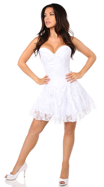 White Lace Corset Dress, Lace Corset Dress, White Corset Dress
