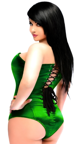 Green Satin Corset Bodysuit