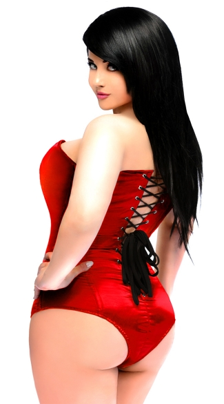 Plus Size Red Satin Corset Bodysuit