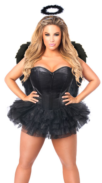 Plus Size Flirty Dark Angel Corset Costume, Plus Size Sexy Black Angel Costume, Plus Size Sexy Dark Angel Costume