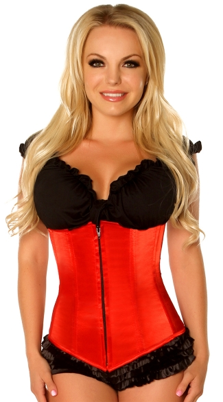 Plus Size Red Underbust Zipper Corset
