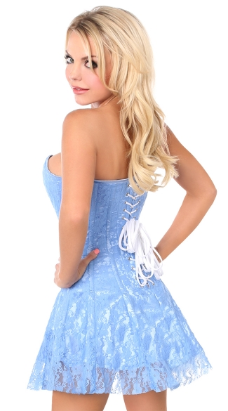 Plus Size Lavish Pastel Blue Lace Corset Dress