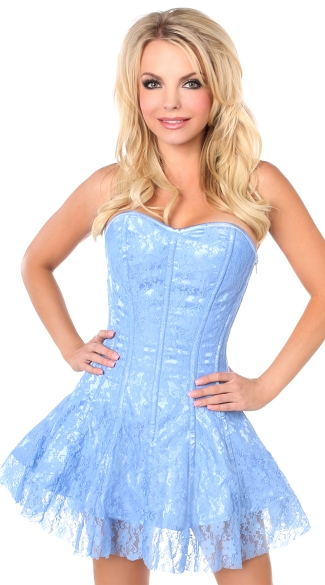 Lavish Pastel Blue Lace Corset Dress- Lace Blue Dress- Blue Corset ...