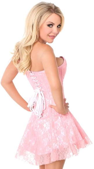 Plus Size Lavish Light Pink Lace Corset Dress