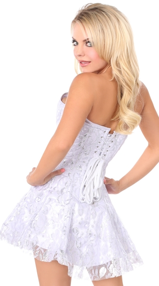 Lavish White and Silver Lace Corset Dress