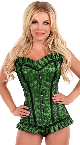 Plus Size Green Lace Steel Boned Corset, Plus Size Green and Black Lace Corset