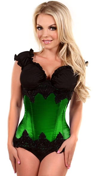 Plus Size Emerald Beaded Underbust Steel Boned Corset, Plus Size Green Underbust Corset, Plus Size Green and Black Corset