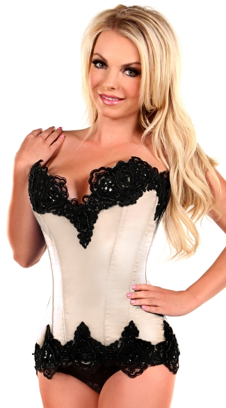 Plus Size Ivory Satin Steel Boned and Beaded Corset