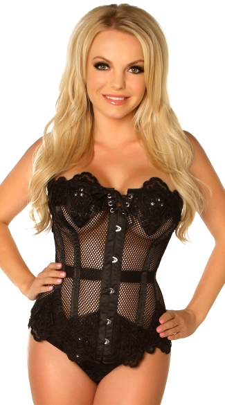 Plus Size Black Net Beaded and Steel Boned Corset