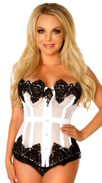 Plus Size White Net Beaded and Steel Boned Corset