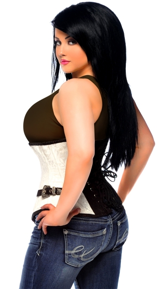 Plus Size White and Black Underbust Corset with Buckles