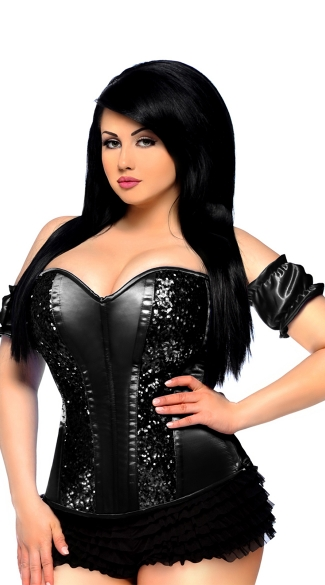 Plus Size Black Steel Boned Sequin Corset