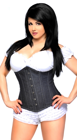 Plus Size Denim Underbust Corset