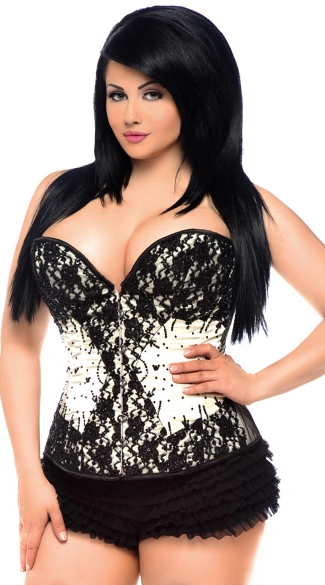 Plus Size Black Lace and Ivory Satin Sweetheart Corset