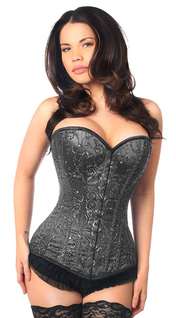 Black Embroidered Steel Boned Corset, Embroidered Corset, Black Corset
