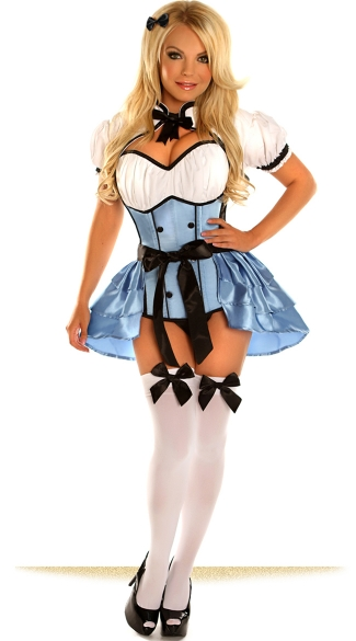 A Naughty Wonderland Costume, Sexy Alice Corset Costume, Hot Alice Lingerie Costume